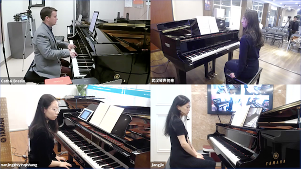 Yamaha Artist Cathal Breslin Teaches Students in China in Four-Way Disklavier Remote Lesson Masterclass