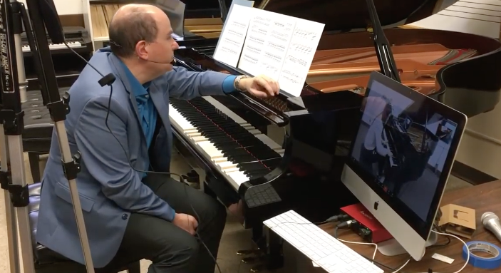Alexandre Dossin Teaches a BYU Student via Remote Lesson on Diskalvier